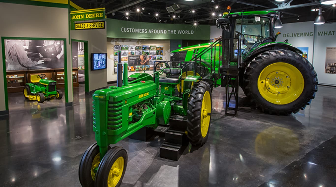 The John Deere Tractor and Engine Museum display floor is shown