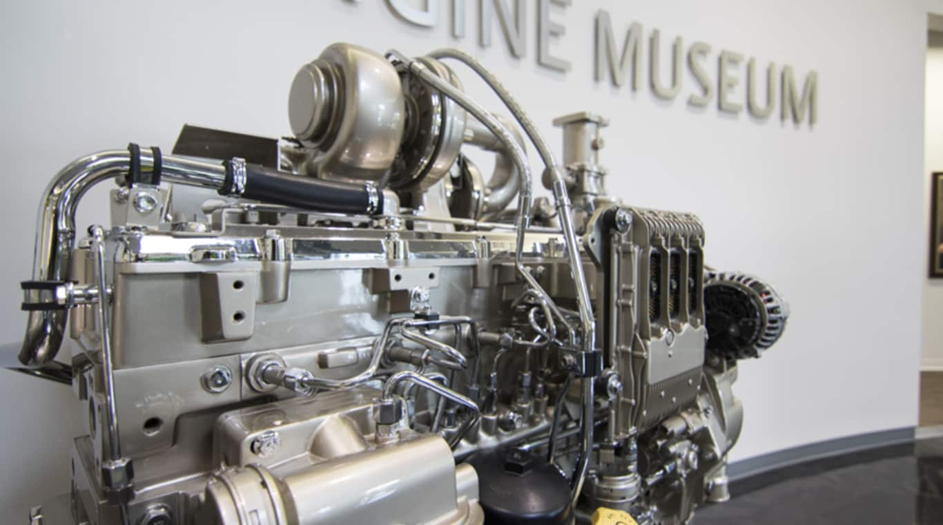 An engine on display