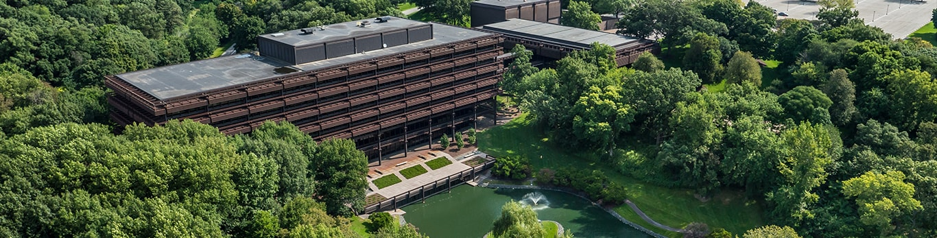 An aerial view of John Deere World Headquarters