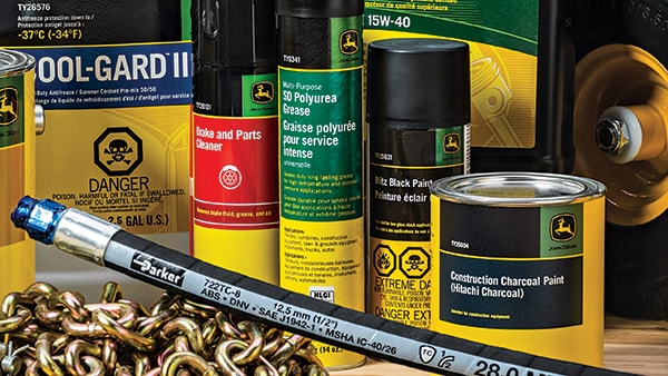 An array of John Deere paints and products