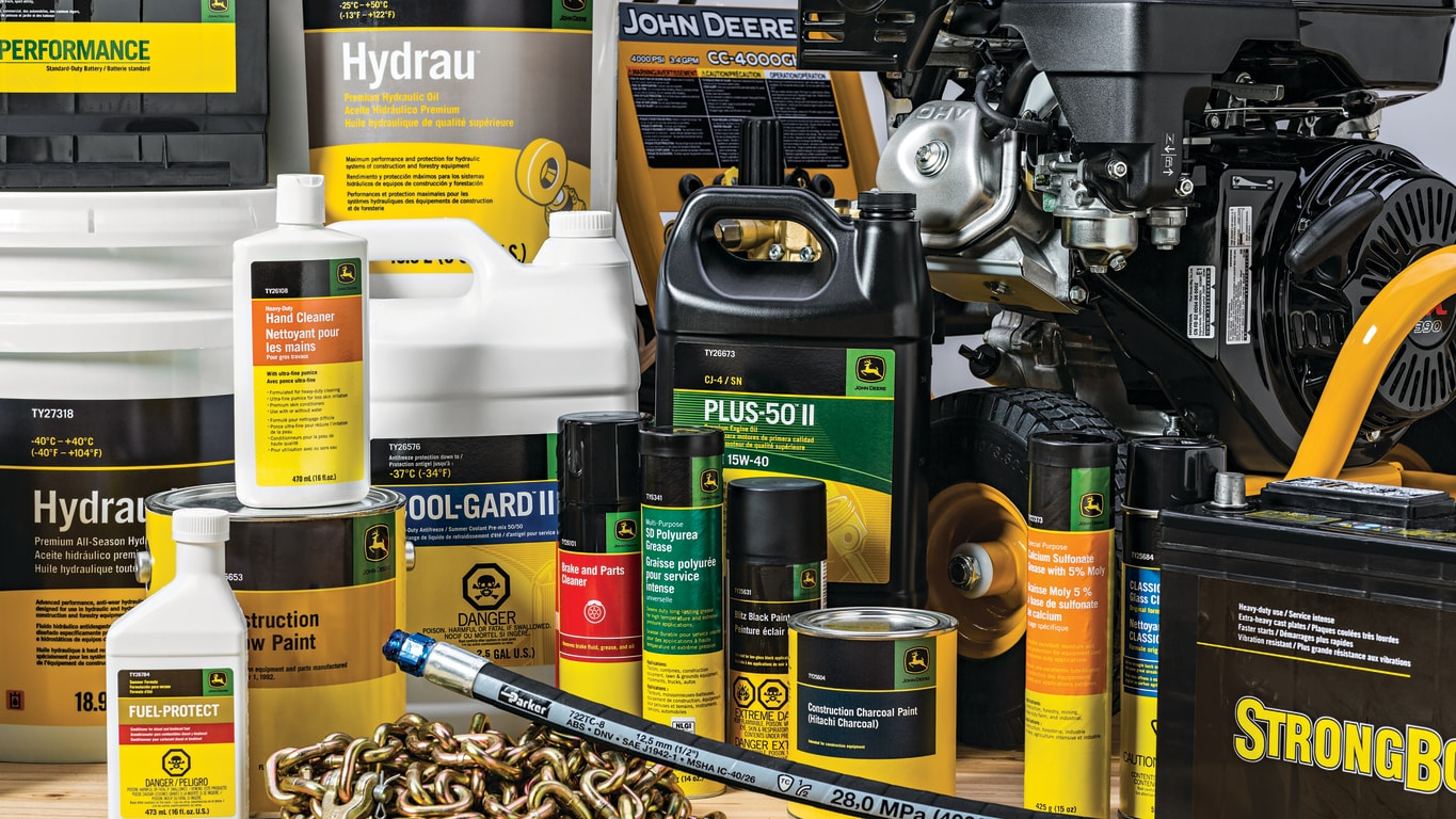 Variety of John Deere maintenance parts and fluids